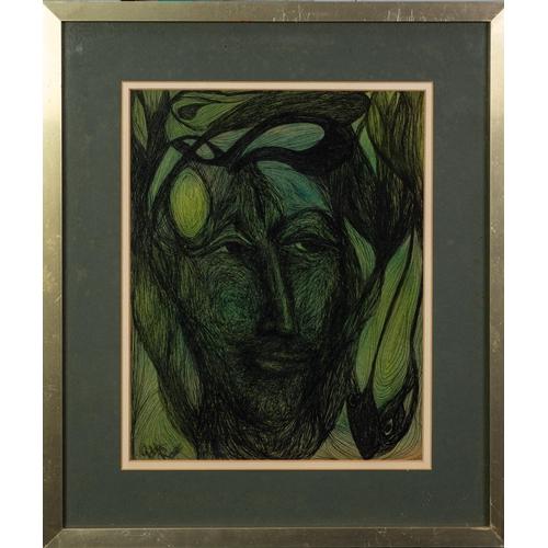 "286 - GOLDA ROSE (1921-2016) PEN AND GREEN WASH'Spirit of Sagittari(us)' Signed, titled verso 12 ¼"" x 9 ¾""..."