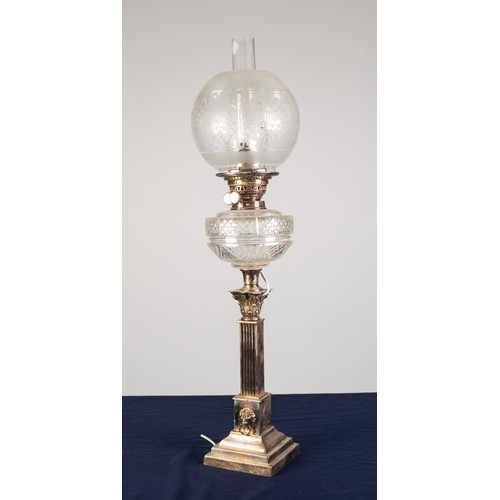 76 - ELECTROPLATED CORINTHIAN COLUMN OIL TABLE LAMP, of square form with captive lion mask ring handles t...