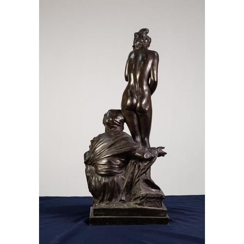 102 - AFTER BRUNO ZACH, PATINATED SPELTER GROUP, 'THE SLAVE TRADER', Modelled as a naked young woman stand...