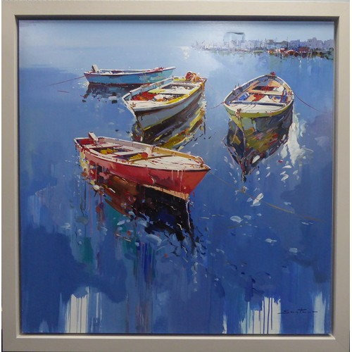"""331 - FRANCISCO SANTANA (MODERN) OIL ON CANVAS'Harbour Life VI' Signed, titled to gallery label verso 47"""" ..."""