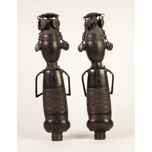 98 - PAIR BENIN, PROBABLY PRE-WAR, HOLLOW CAST BRONZE MALE AND FEMALE FIGURES, each depicted kneeling, in...