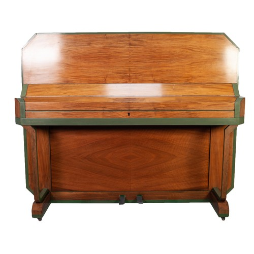 107 - B. SQUIRE, LONDON, ART DECO BLOND WALNUT UPRIGHT PIANOFORTE, the canted angles painted olive green a...