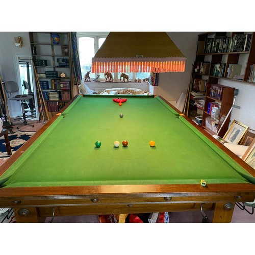 "103 - RAPER & SON, OAK THREE-QUARTER SIZE SLATE BED BILLIARDS TABLE, ON EIGHT HEAVY TURNED LEGS, 10'6""..."