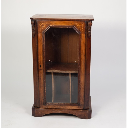 139 - VICTORIAN MARQUETRY INLAID AND FIGURED WALNUT MUSIC CABINET, the oblong top with canted corners, set...