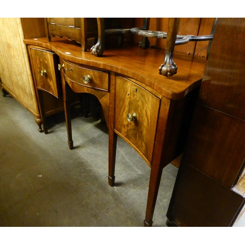 168 - ANTIQUE MAHOGANY SERPENTINE FRONTED SIDEBOARD, HAVING CUPBOARD DOOR, SINGLE DRAWER AND A DEEP DRAWER...