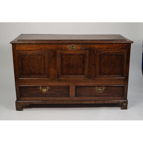 169 - EIGHTEENTH CENTURY MAHOGANY CROSSBANDED OAK DOWER CHEST, the moulded top with raised panel to the ce...