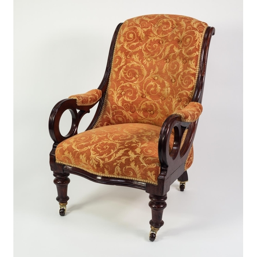 170 - VICTORIAN CARVED MAHOGANY EASY OPEN ARMCHAIR, the moulded show wood frame with buttoned back and ser...
