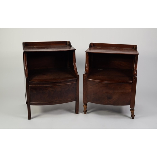 171 - TWO SIMILAR GEORGIAN MAHOGANY BOW FRONTED BEDSIDE NIGHT COMMODES, each with short back and hinged sh...