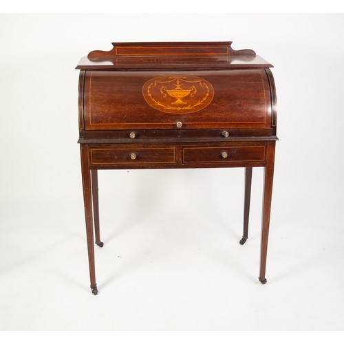 165 - EARLY TWENTIETH CENTURY INLAID MAHOGANY CYLINDER DESK, the moulded oblong top with short back, above...