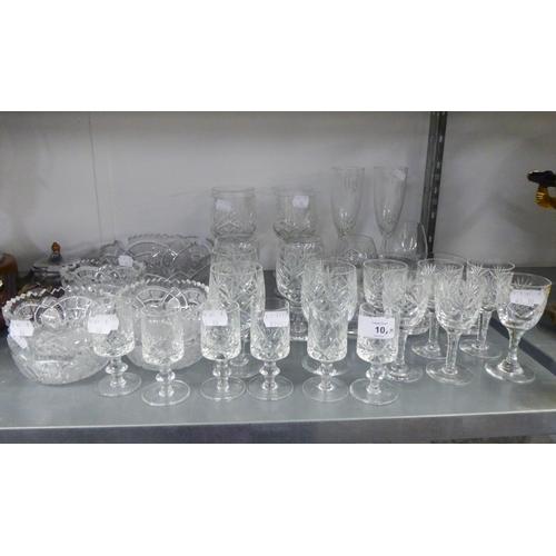 10 - GOOD QUALITY CUT GLASS FRUIT BOWL AND SIX CUT GLASS MATCHING DISHES, 4 CUT GLASS WINE GLASSES, 6 CUT...