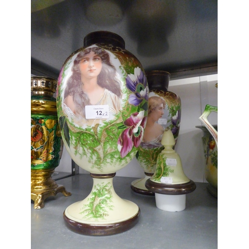 12 - A PAIR OF VICTORIAN WHITE OPAQUE GLASS OVULAR PEDESTAL VASES, THE FRONTS DECORATED WITH PORTRAITS OF...