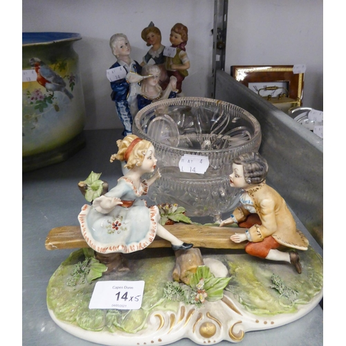 "14 - CAPO DI MONTE CHINA GROUP, TWO CHILDREN ON A SEE-SAW, 8 ½"" WIDE, A CONTINENTAL CHINA GROUP OF TWO MU..."
