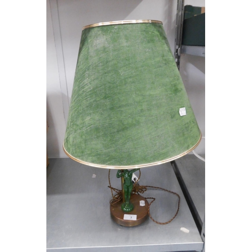 3 - GOOD QUALITY ART DECO FORM COPPER AND BRASS TABLE LAMP, INCORPORATING THE GREEN ENAMELLED FIGURE OF ...