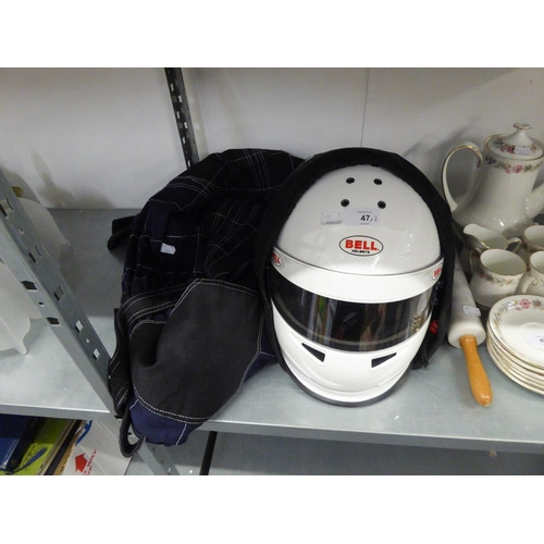 47 - A BELL KARTING HELMET AND A PAIR WOLF ALL IN ONE MOTOR BIKE OVERALLS (2)