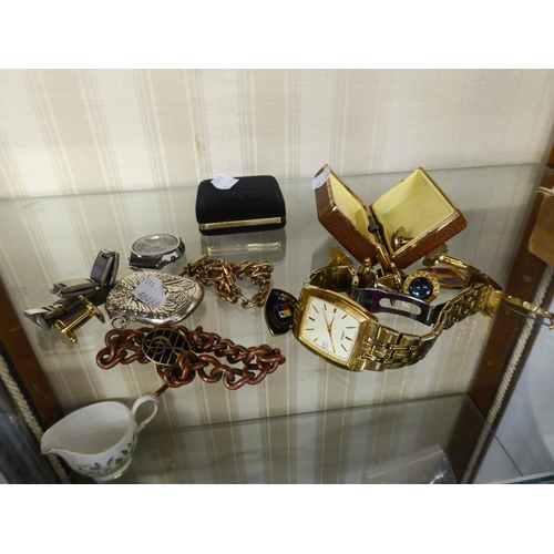 49 - SMALL QUANTITY OF MISC COSTUME JEWELLERY TO INCLUDE; CUFF LINKS, WATCHES, BROOCH AND A SILVER VESTA ...