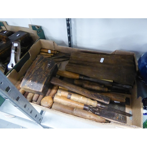 50 - LARGE QUANTITY OF TOOLS VARIOUS TO INCLUDE; BOX OF CLAMPS, BOX OF CHISELS, DRILLS, TWO LARGE WOODEN ...