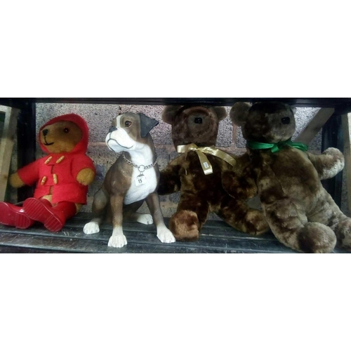 15 - ONE PADDINGTON BEAR IN RED DUFFEL COAT, TWO BROWN BEARS & A SAT DOWN BOXER DOG...