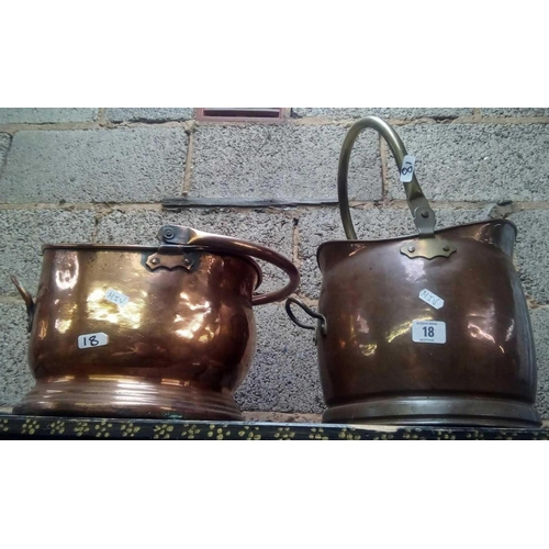 18 - TWO COPPER COAL BUCKETS WITH SWING HANDLES...