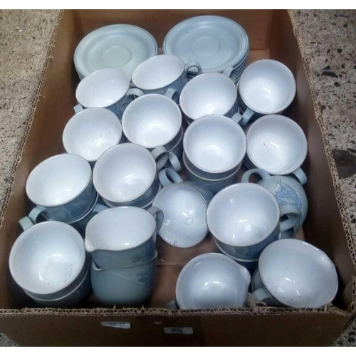 25 - CARTON OF DENBY GREY BLUE FLORAL PATTERN COFFEE CUPS & SAUCERS...