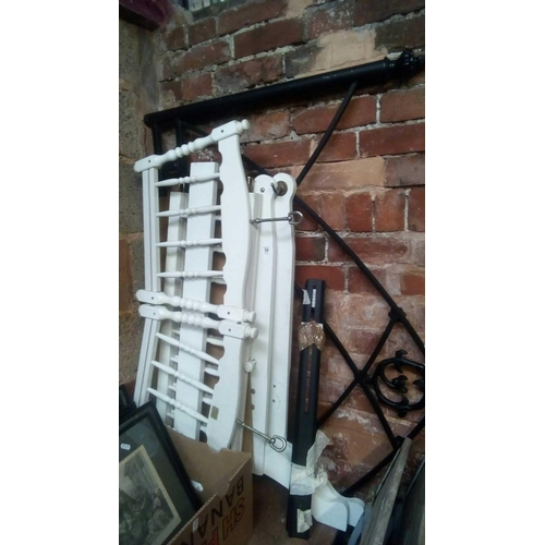 59 - WHITE FLAT PACKED CHILD'S COT& GOTHIC WROUGHT IRON BED HEAD & FIXINGS...