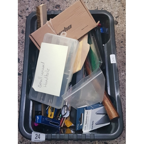 24 - CARTON WITH SMALL UNUSED HAND TOOLS OF VARIOUS DESCRIPTIONS, HAMMERS, PLIERS, TWEEZERS, SHARPENING S...