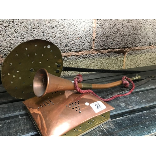 27 - BRASS  & COPPER CHESTNUT ROASTER, CHEESE SKIM & COPPER & BRASS HUNTING HORN