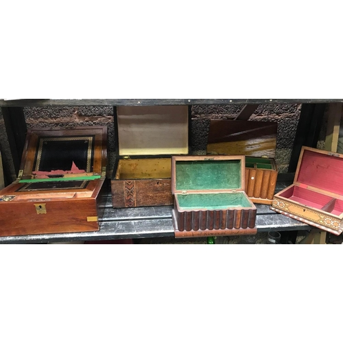 29 - 5 VINTAGE WOODEN BOXES, SOME INLAID