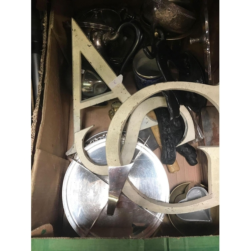 32 - 3 CARTONS OF MIXED BRIC-A-BRAC INCL; CAMERA, TRIPOD, PLATEDWARE, KITCHEN SCALE & CURVED GLASS PHOTO ...