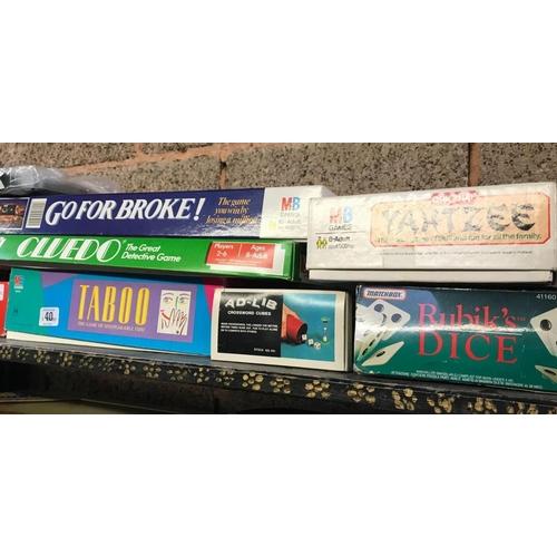 40 - BOX OF BOARD GAMES, DARE,GO FOR BROKE, CLUEDO, RUBIK'S CLOCK, RUBIK'S DICE, BRAIN BENDERS ETC