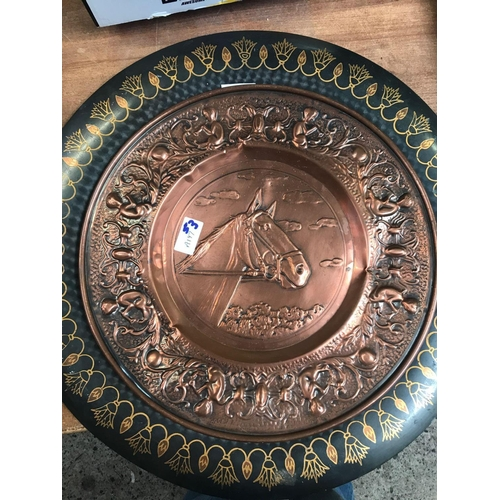 53 - COPPER TRAY WITH HORSES HEAD & A MODERN EGYPTIAN DECORATIVE METAL TRAY