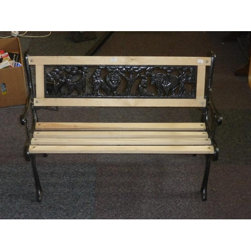 432 - Childs Wood and Cast Iron Animal themed Bench...