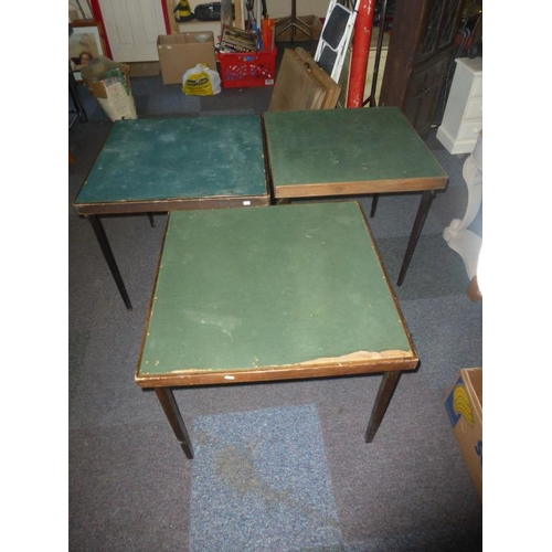 449 - Three collapsible leg green bieze and oak card tables...