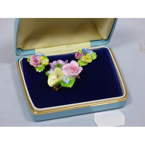 7 - Coalport fine bone china jewellery set in original jewellery box...