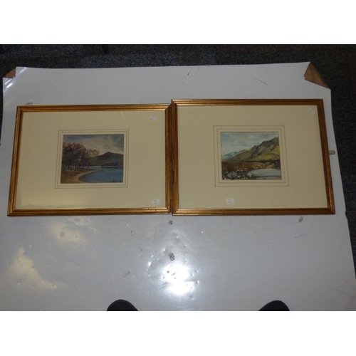 13 - Pair of antique gilt framed and glazed watercolours of Highland scenes...