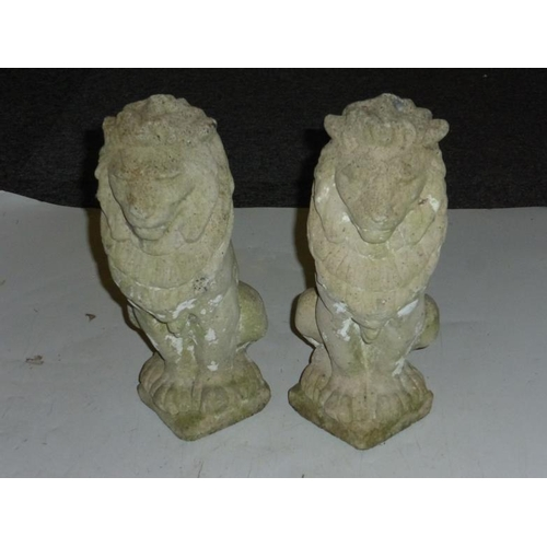 587 - Pair of Concrete Garden Lion Ornaments (approx. 14inch tall)...