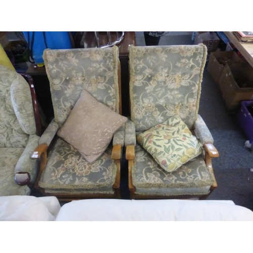 593 - Two fabric High backed chairs and fabric pouffe...