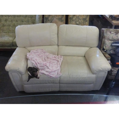 596 - Two Seater electric white leather double recliner...