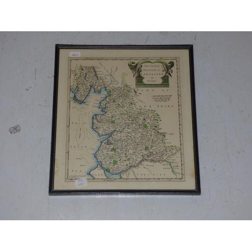 154 - Antique map of the Palatine of Lancaster, glazed and framed...