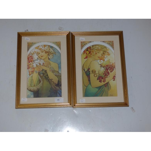 157 - Pair of Pre-Raphaelite gilt framed and glazed pictures...
