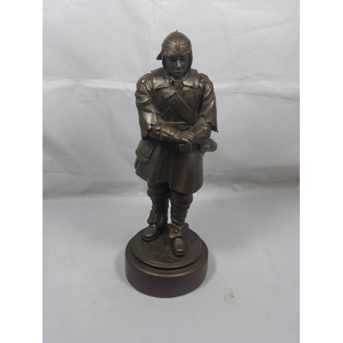 1 - Bronzed Figurine of Oliver Cromwell signed Elton 1990 approx 11inch Tall...