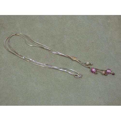 102 - Silver Murano glass necklace...