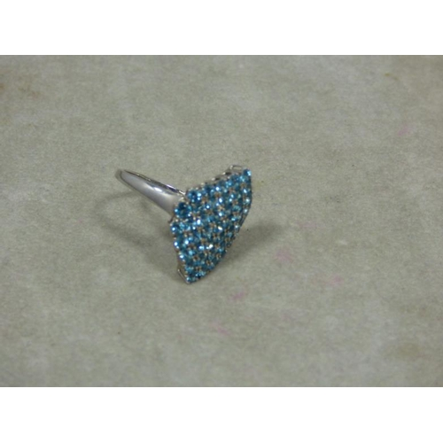 103 - Silver Blue topaz ring...