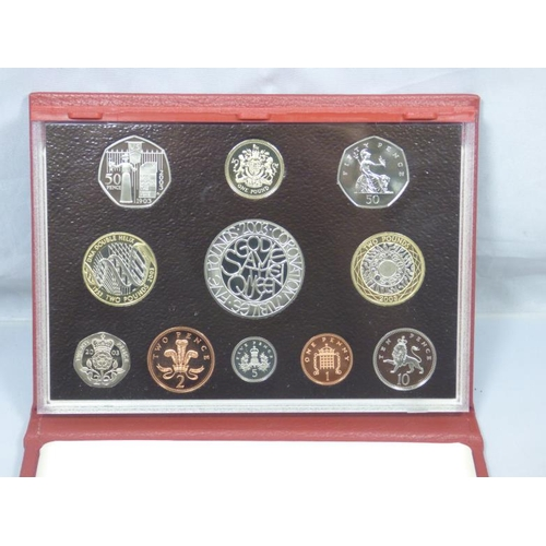 113 - Royal Mint 2003 Proof set coin collection of leather case...