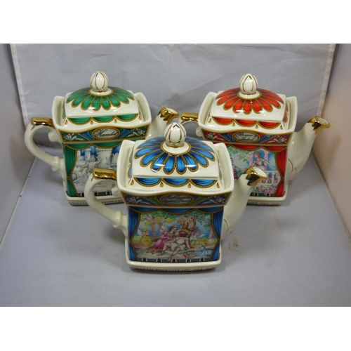 119 - Three Sadler teapots themed Shakespeare...
