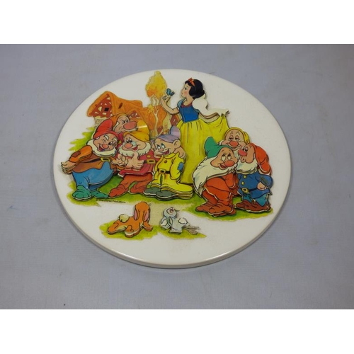 134 - H&R Johnson ceramic plaque with Disney pictures appended...
