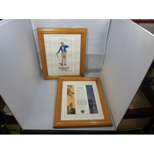 156 - Two framed and glazed vintage adverts...