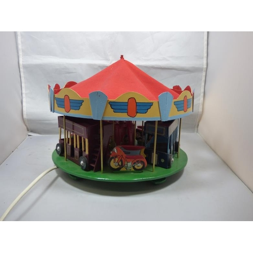 169 - Hand Made Electrical Wooden Carousel / Merry Go Round in working order. (With Red Canopy)...