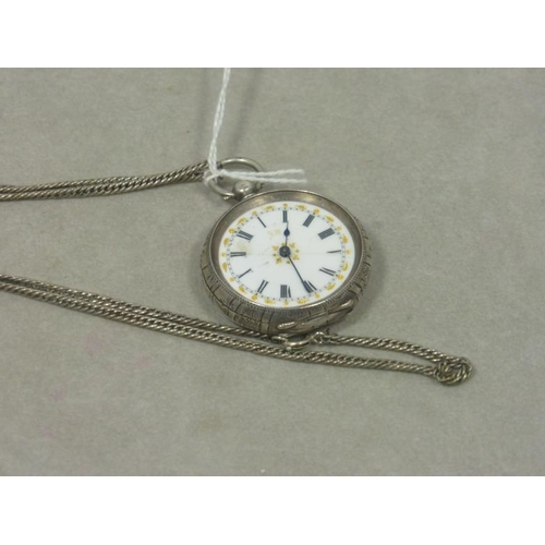 17 - Pocket Watch with French Movement circa 1910-1919, Silver Case and Silver Chain...