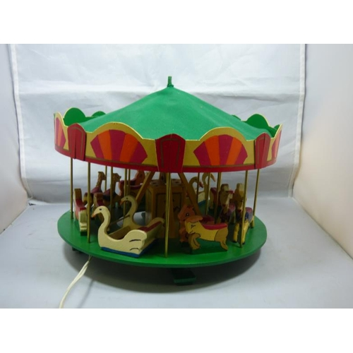 171 - Hand Made Electrical Wooden Carousel / Merry Go Round in working order. (With Green Canopy)...