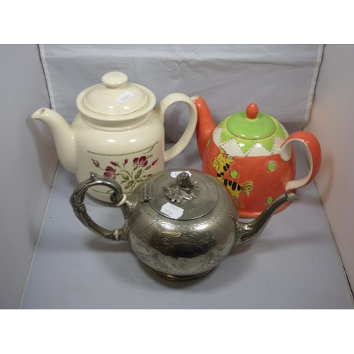 182 - Three tea pots to include Silver plated...